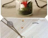 Fox terrarium necklace. Woodland Forest Bottle Necklace. Tiny fox necklace. Woodland necklace. Forest jewelry Miniature forest Miniature fox