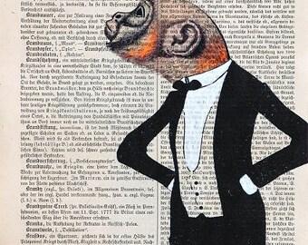 ORNITHOLOGIST Giclee Print Mixed Media Acrylic Painting Illustration