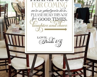 Wedding Welcome Thank You Poster -- Printable File -- Calligraphy Script