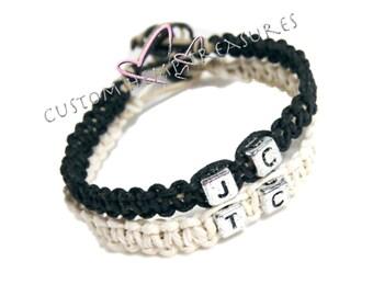 Personalized Jewelry, Initial Bracelet, Couples Bracelets, Hemp Bracelets, Eco Friendly Jewelry, Custom Bracelet, Matching Bracelet