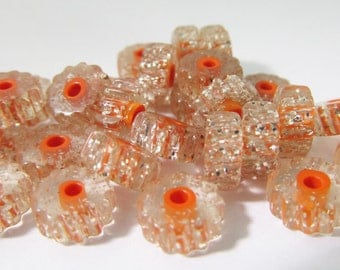 60 Vintage 8x4mm Lucite Silver Glitter Orange Core Tube Beads Bd991