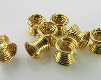 40 Vintage 4mm Tiny Golden Coiled Wire Beads Bd1012