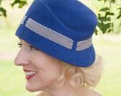 20s Cloche Hat, Agnes Sculpted Cloche Violet, Royal Blue Fur Felt Velour with Grey Velvet trim