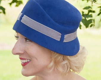 20s Cloche Hat, Agnes Sculpted Cloche Violet, Royal Blue Fur Felt Velour with Grey Velvet trim