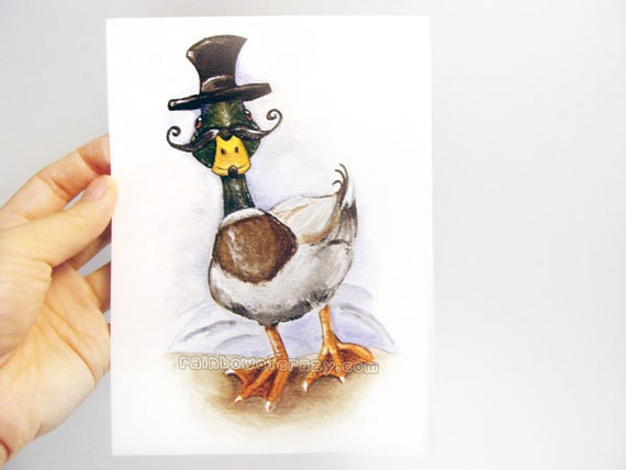 Clearance Sale Duck Print Mustache Picture 5x7 Wall Art