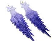 Lace Earrings - Ombre Flower in Lavender and Purple - Customizable Colors - Long Lace Fashion