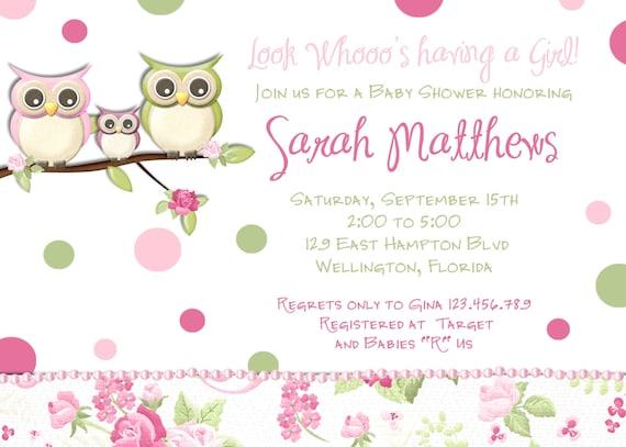 Pink Owl Girl Baby Shower Invitation - Owl Family Invite