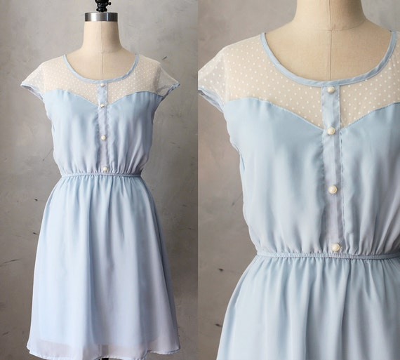 Items similar to petit dejeuner cornflower dusty light for Light blue lace wedding dress
