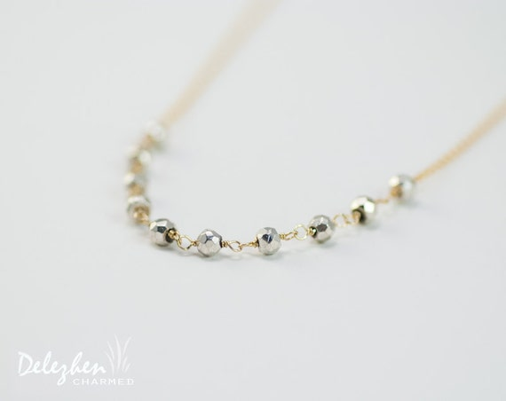 Silver pyrite and gold chain beaded wire wrapped necklace - minimalist everyday jewelry - gift for her - bridesmaid necklace