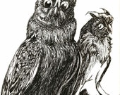 Owl Art Ink illustration by Hues original OOAK- NOT A PRINT spooky hoot halloween drawing 11x14 micron