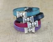 Antiqued Silver Bow Leather Bracelet: Purple Navy Turquoise Fuchsia