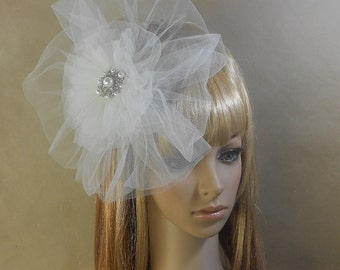 White Bridal Tulle Fascinator With Pearls-Bridal Tulle Headpiece With Pearls
