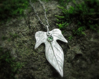 Elven Leaf Necklace With Peridot - Made With a Real Leaf - Silvan Leaf - Botanical Necklace - Artisan Handcrafted with Recycled Fine Silver