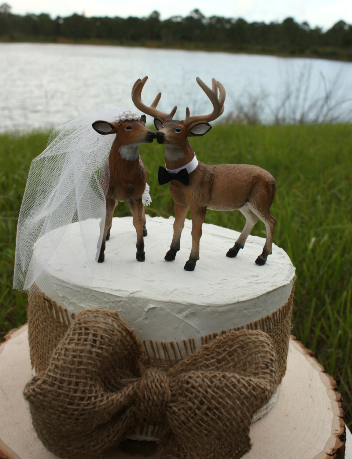 Doe and Buck cake topper Deer wedding cake by MorganTheCreator