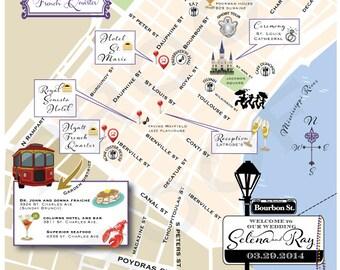 NEW ORLEANS - Custom Wedding Map or Wedding Weekend Card - Printable DIY