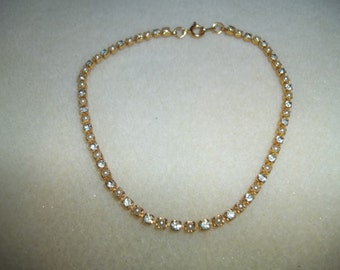 Nine Inch Golden Pearl & Rhinestone Linked Chain Bracelet