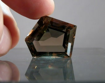 Fine Quality Loose Gem Faceted Quartz Gemstone Fine 36.6 carat Free Form Loose Smoky Quartz Lapidary or Jewelry Supply DanPickedMinerals