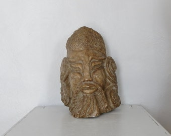 Antique Korean Large Artifact Joseon Period 30lb Stone Warrior Face Bust Carving Early 1800's Republic Era Museum Quality DanPickedMinerals