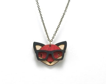 Nerd Fox Necklace - Handmade - laser cut - laser cut jewelry - jewelry