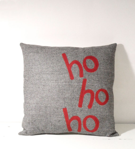 Christmas Pillow Ho Ho Ho Gray And Red Hand Painted