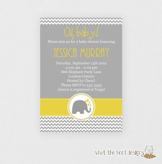 Printable Baby Shower or Birthday Invitation - Chevron Elephants