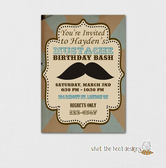 Printable Birthday Party Invitation - Vintage Mustache Bash Theme (Digital File)