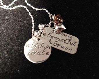 Mom/Cancer Survivor Custom Necklace with Sterling Puffy Heart - Personalized Sterling Silver