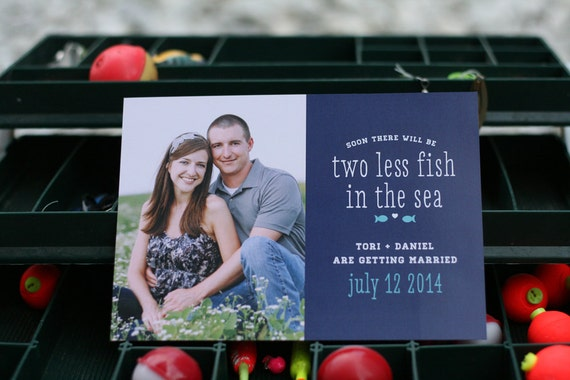 Two less fish in the sea diy printable save the date card for Two less fish in the sea