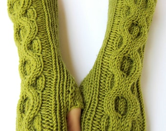 hand knit arm warmers knit mittens fingerless gloves wrist warmers lime green gift merino wool arm warmers wool mittens #022