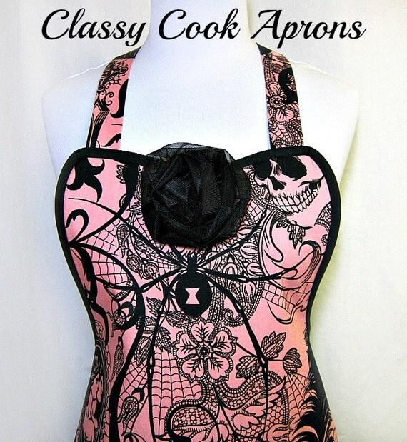 Apron After Dark SKULLS, Pink & Black, SEXY Goth Steampunk, Alexander Henry, Party Hostess Kitchen Gift