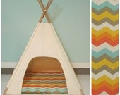 Modern House for Dog, Doll,Cat -Natural Canvas with Chevron Pillow - teal, orange, tan - Vintage Kandy Tenthouse Suites