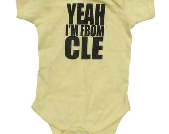 Yeah I'm From CLE - Banana Yellow Baby One-Piece