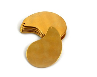 6 Teardrop Brass Blank - 24 Gauge Raw Brass - Stamping Blank with Hole