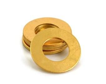 10 Brass Round Washer Blanks - 24 Gauge Raw Brass Stamping Blanks