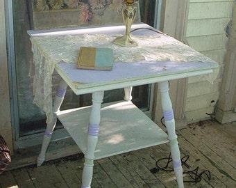 Chippy Victorian Table Farmhouse Prairie Chic Painted Lavender Cottage Garden
