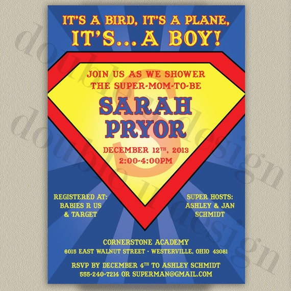 Superman Printable Baby Shower Invitation By Doubleudesign
