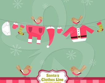 Santa's Clothes Line Clip Art Clipart Set - Commercial and Personal use