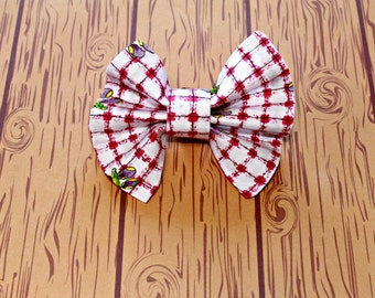 Dog Bow Tie Dog Collar Accessory Pink Plaid