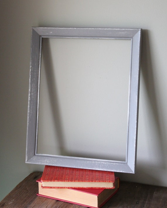 distressed picture frame gray grey white by thesquirrelcottage. Black Bedroom Furniture Sets. Home Design Ideas