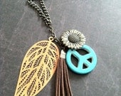 Hippie Necklace Boho Style Native Sunflower Necklace Orange Leaf Turquoise Peace Necklace Vintage Style Tassel