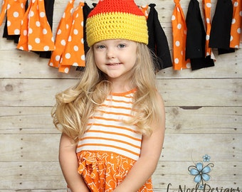 Candy Corn Hat- photography prop- Halloween hat- fall hat- candy corn prop- candy corn accessory- candy corn newborn prop- candy corn beanie