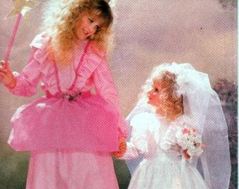 Princess, Bride, Fairy Godmother Halloween Costume Pattern, Girls Sizes 4-5, 6-7, 8-10, 12-14, Butterick 6851, Vintage Sewing Pattern 1988