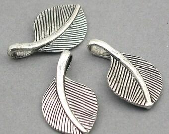 Leaf Feather Charms Antique Silver 4pcs zinc alloy pendant beads 16X28mm CM0382S