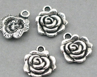 Rose Flower Charms Beads Antique Silver 8pcs base metal beads 11X14mm CM0406S