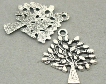 Tree Charms Antique Silver 6pcs base metal beads 23X29mm CM0590S