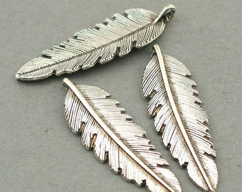 Feather 3D Charms Antique Silver 6pcs base metal beads 11X37mm CM0592S