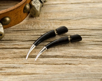 Fake Gauges Earrings Horn Earrings Talon with Metal Tip Tribal Gothic Style Buffalo Black Horn Organic - FG074 HM G1