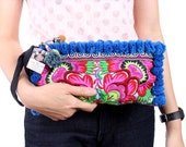 Pom Pom Wristlet Clutch Hill Tribe Embroiderd Fabric Fashionable Fair Trade Thailand (BG810PP-BF6)