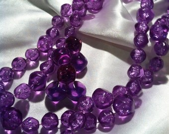 Avon Purple Dawn bead necklace and matching clip earrings