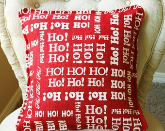 Cotton Christmas Pillow Cover, Red and White Christmas Pillow Cotton, Santa Pillow Cover, Ho Ho Ho, Cover Only